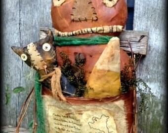 Primitive Folk Art Pumpkin Pocket Doll-Black Cat-Candy Corn-Halloween, Fall, Autumn, Whimsical, Hafair Team, Faap