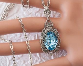 Aquamarine Necklace, Aquamarine Birthstone Necklace, Antique Silver Necklace, Filigree Necklace, Swarovski Crystal Jewelry, March Birthstone