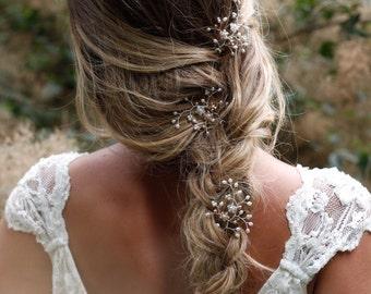 Bridal hair pins, bridesmaid hair pins, set of 3 hair pins, Swarovski crystal, freshwater pearl, rose gold wedding hair accessories