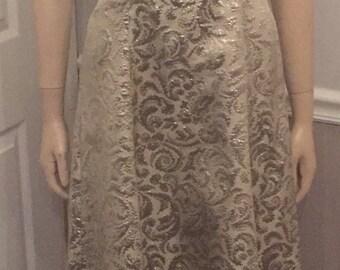 Classy Silver and Champagne Watters & Watters sleeveless Spaghetti strap dress / size 4 / 6