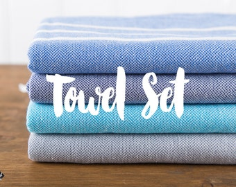 Turkish Towel Set, Classic Towel, Turkish Bath Towel, Bath Towel, Turkish Cotton Towel, Peshtemal, Hammam Towel