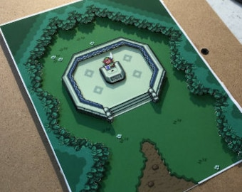 Legend Of Zelda: A Link To The Past Diorama / Shadowbox (framed artwork) SNES
