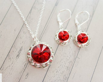 Red Bridesmaid Jewelry - Bridesmaid Jewelry Set - Ruby Earrings - Apple Red Bridal Earrings - Red Wedding Jewelry - July Birthstone - Siam