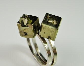Pyrite Ring Unique silver rings Vintage silver ring Modernist Ring Minimalist Ring 1970s Jewelry Cube Ring Crystal Ring Crystal Jewelry