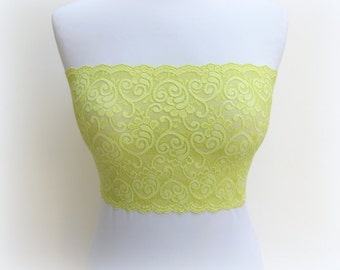 Lace bandeau top. Yellow neon top. Lime green floral lace strapless. Wireless bra. Lace lingerie. Yellow neon lingerie.