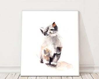 ORIGINAL Watercolor Painting, Kitten Painting, Cat Watercolour Art