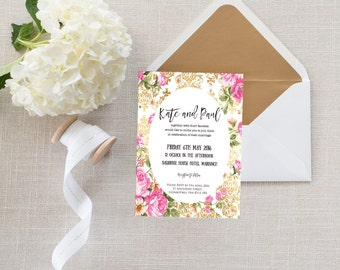 Pink and Gold Personalised Wedding Invitation - Floral / Flowers / Luxury / Pretty