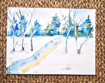 Birch trees in Winter Watercolor Painting - Original Watercolour Painting Winter Scene - Stream in the woods painting - Winter snow