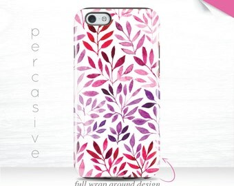 Watercolor Floral iPhone 7 Leaf Case iPhone 6s Case Pink iPhone 6 Plus Case, iPhone 5s Cover, iPhone 7 Plus Case Pink Leaf Galaxy s7  12s