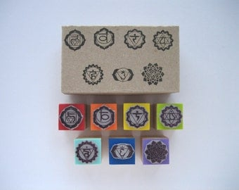 7 Chakras Rubber Stamps Set.