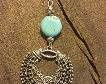Pendant Necklace, Silver and Turquoise Necklace, Silver Necklace, Boho Necklace, Southwestern Necklace