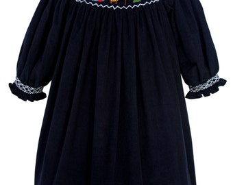 Girls Smocked Nativity of Jesus Bishop Dress In Navy Corduroy Fabric with Long Sleeves, Christmas Day Coordinated Children's Clothes 18017