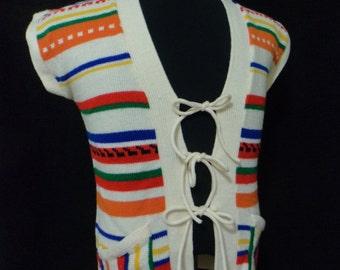 Vintage 70s Sweater Vest, Hippie Vest (Size: Women's XS, Small ?), Boho Vest, Striped Vest, Geek Vest, 70s TV Show