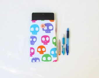 Skull print Kindle case, 7 inch tablet cover, bright skull fabric, nexus 7, kindle fire, gift for teen, Samsung Tab 7, handmade in the UK