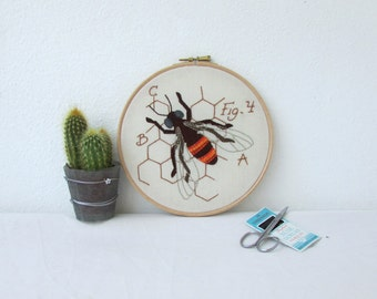Honey Bee hand embroidery hoop art, insect embroidery, decorative wall art, textile art, entomology gift for scientist handmade in the UK