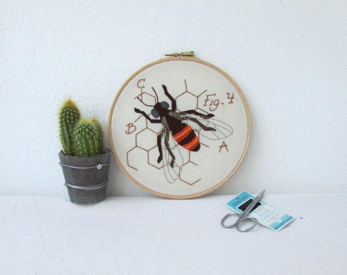 Honey Bee hand embroidery hoop art, handmade in the UK