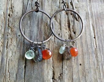 Multi briolette earrings. Oxidized sterling silver earrings. Artisan earrings. Prehnite, carnelian, labradorite earrings