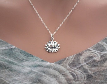 Sterling Silver Blooming Lotus Charm Necklace, Beautiful Lotus Charm Necklace, Lotus Flower Charm Necklace, Zen Necklace, Flower Necklace