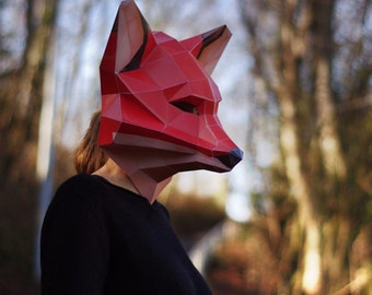 Fox Mask DIY papercraft, digital download