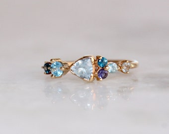 14k Cluster Ring, Something Blue, Aquamarine, Blue Topaz, Solid Gold, Iolite,  Blue Zircon, Gemstone Ring, Mixed Stone Ring Trillion
