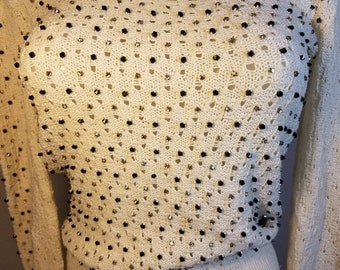 FREE  SHIPPING  Vintage Woman Diamond Rhinstone Sweater