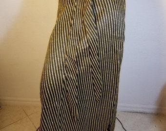 FREE  SHIPPING  Vintage Gold Metallic Mod Maxi Skirt