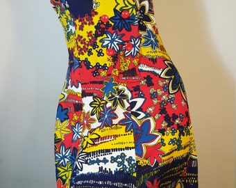FREE  SHIPPING  Vintage 1960 Mod Psychedelic Dress
