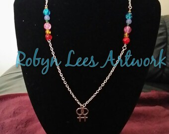 Lesbian Gay Pride Silver Necklace with Rainbow Glass Beads and Jade Beads
