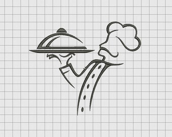 Chef with Tray Embroidery Design in 3x3 4x4 5x5 6x6 and 7x7 Sizes