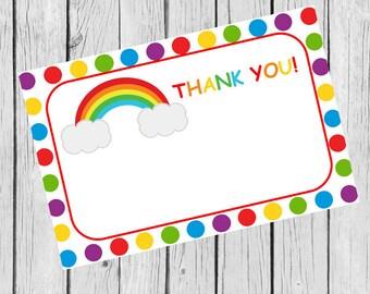 Rainbow Thank You Card - Printable