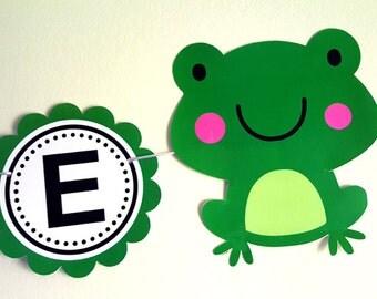 Frog Banner, Frog Birthday Banner, Frog Baby Shower Banner, Frog Nursery Banner