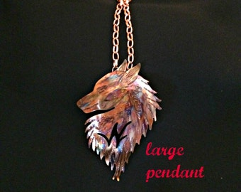 wolf talisman, wolf totem, wolf necklace, wolf pendant, wolf jewelry, flame painted copper, wolf art, copper metalwork, Canadian artist