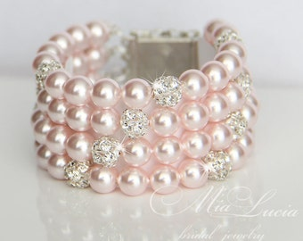 Bridal Jewelry Bracelet, Rose Pearl Bridal Jewelry Bracelet, Blush Pearl Bracelet, Wedding Jewelry Pink Pearl, Cuff Bracelet art. b07