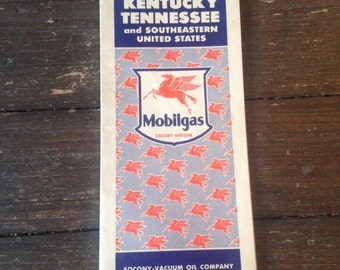 Vintage 1942 Mobilgas Kentucky, Tennessee and Southeastern United States Road Map