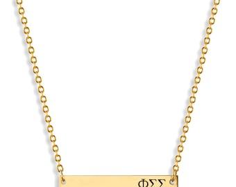 Phi Sigma Sigma Sorority Bar Necklace / Phi Sigma Sigma Necklace / Sorority Necklace / Sorority Gift / Big Little Gift / Sorority Jewelry