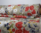 Pure 100% linen fabric. Multicolor flowers, meadow on natural not dyed flax background. Middle weight, dense, washed-softened. By meter.