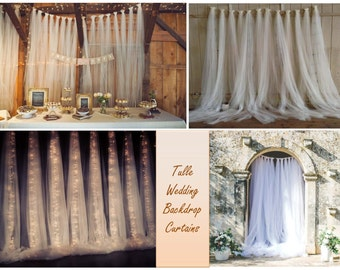 Tulle Backdrop Curtains -Wedding backdrop - Bridal Shower Backdrop - Birthday Backdrop