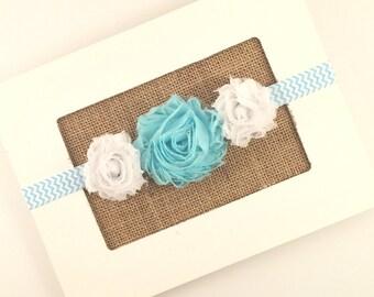 Blue Baby Girl Headband, Blue Flower Girl Headband, Toddler Gift, Newborn photo Prop, Blue Flower Headband, Blue Headband, Chevron Headband