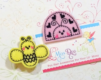 Embroidered Felt Clippie-Ladybug andBee Clippie Set-Bug Hair Clippies- Bug Clippies-Pink and Yellow (Set of 2)