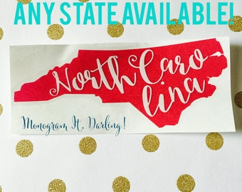Any State Decal | North Carolina State Decal | State Decal | State Sticker | Car Decal | State Car Decal | Glitter Decal | Glitter Sticker