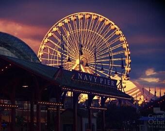 Chicago Print, Navy Pier, Ferris Wheel, Carnival Photography, Travel Photography, Purple, Pink, Blue, Nursery Wall Art, Chicago Art
