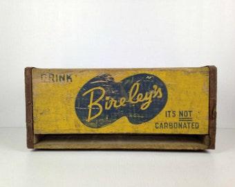 Vintage Wood Crate Bireleys  Wooden Crate Rare Wood Soda Crate 1940s Beverage Crate 1940s Old Soda Advertising Yellow Wood Crate