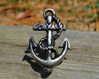 Cast iron anchor knob/large knob/ocean knob/metal knob/silver/nautical knob/marine knob/decorative knob/furniture hardware/beach/drawer pull