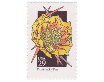 10 Unused Vintage Postage Stamps - 1992 29c Wildflower Series - Plains Prickly Pear - Item No. 2685