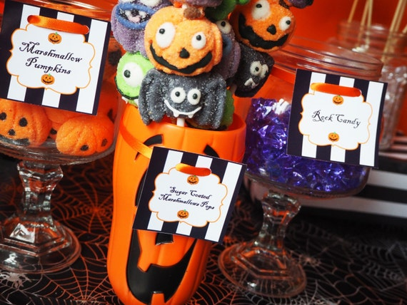 HALLOWEEN - Party - Personalised - Candy Jar Labels - Orange - Black - Children - Spooky - Pumpkin - PRINTABLE - PDF - Digital File