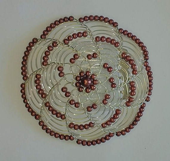 beaded kippah in chocolate pearl with silver wire by