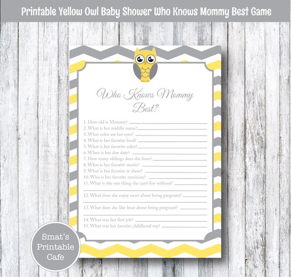 yellow owl baby shower who knows mommy best quiz game printable