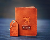 A set of Personalized real Leather Passport Cover and a luggage tag, passport holder travel, airplane, flight, plane, Custom name initials
