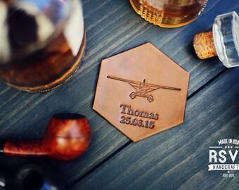 Personalized Leather Coaster, Custom Leather Coaster, Handmade housewarming wedding anniversary Drinking Gift groomsman Plane pilot airplane