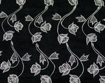 "Black Matka Raw Silk with white flowery embroidery 100% Silk Fabric, 44"" Wide, By The Yard (EB-945)"